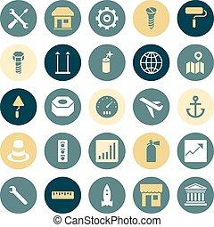 ícones, apartamento, projeto industrial