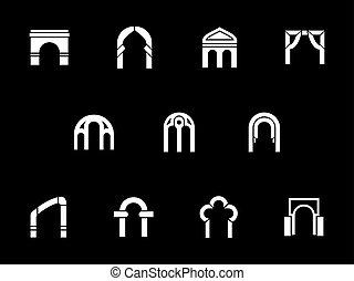 ícones, arcos, vetorial, arquitetônico, branca, glyph