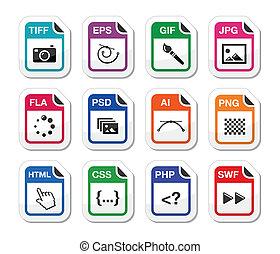 ícones, arquivo, pretas, etiquetas, tipo