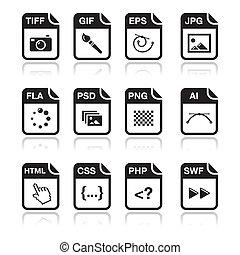 ícones, arquivo, pretas, -, gráfico, tipo