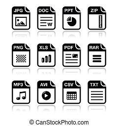 ícones, arquivo, pretas, s, sombra, tipo