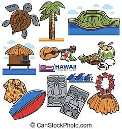 ícones, atrações, viaje destino, havaí, famosos, vetorial,...
