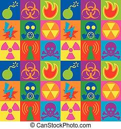 ícones, aviso, perigo, tabuleiro damas