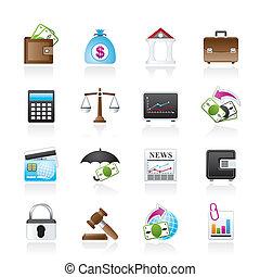 ícones, banco, finanças, negócio