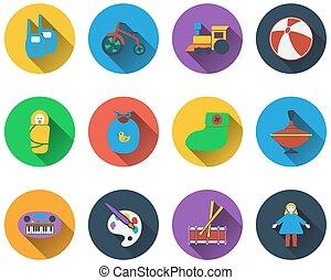 ícones, bebê, jogo