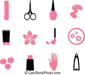 ícones, beleza, cosméticos, (, isole, branca, manicure, bl, cor-de-rosa