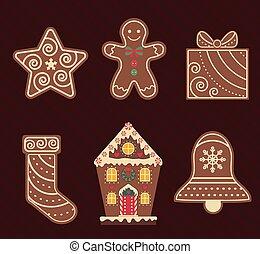 ícones, biscoitos, chocolate, natal, apartamento, gengibre