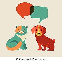 ícones, bolhas, cão, cobrança, gato, speach, vetorial, ilustrações