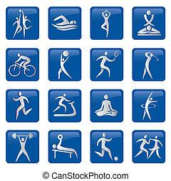ícones, botões, desporto, condicão física