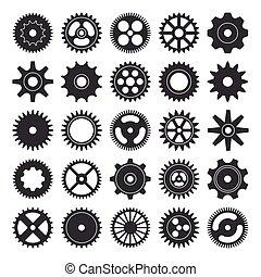 ícones, branca, experiência., ilustração, vetorial, cogwheel, silueta, isolado, jogo