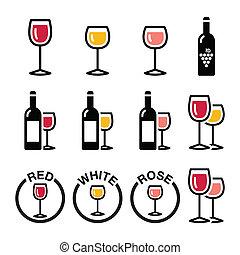 ícones, branca, vinho, -, tipos, rosa, vermelho