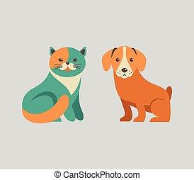 ícones, cão, cobrança, gato, vetorial, ilustrações