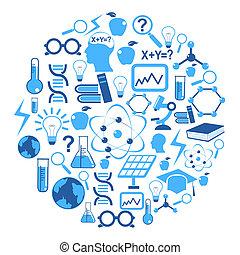 ícones, círculo, ciência