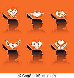 ícones, cabeça humana