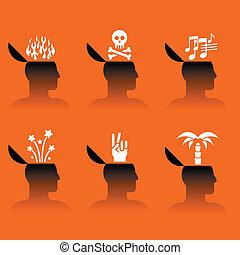 ícones, cabeça, vário, objetos, human