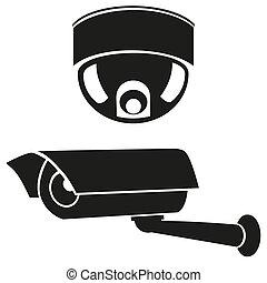 ícones, cameras, vigilância