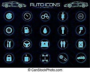 ícones, car, set., serviço, vetorial, automóvel