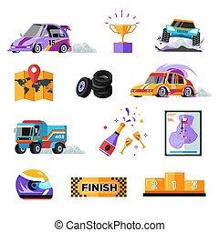 ícones, car, veículos, isolado, raça, caminhão, rally, ou