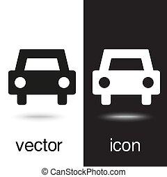 ícones, car, vetorial, experiência preta, branca