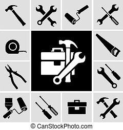 ícones, carpinteiro, pretas, ferramentas, jogo