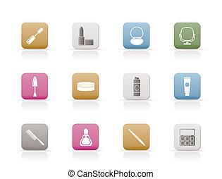 ícones, cima, fazer, cosmético
