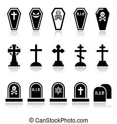 ícones, co, -, jogo, dia das bruxas, cemitério