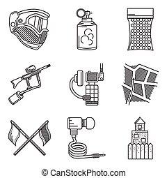 ícones, cobrança, acessório, paintball, vetorial, pretas, linha