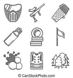 ícones, cobrança, equipamento, paintball, vetorial, pretas, linha