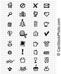 ícones, cobrança, para, seu, desenho