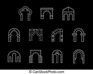 ícones, cobrança, vetorial, branca, arco, linha, tipos