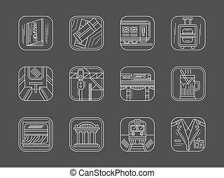 ícones, cobrança, vetorial, linha estrada ferro, branca