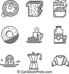 ícones, cobrança, vetorial, pretas, pequeno almoço, linha