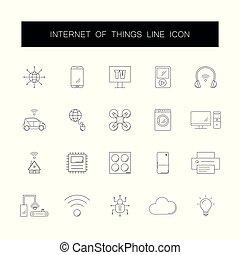 ícones, coisas, set., internet, pack., linha