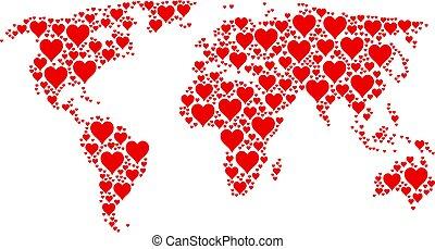 ícones, colagem, global, paleto, atlas, corações