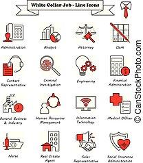 ícones, -, colarinho, trabalho, linha, branca