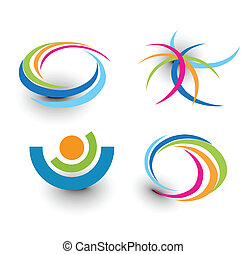 ícones, coloridos, elemento