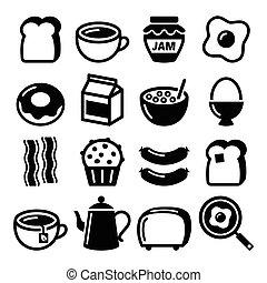 ícones, comida café manhã, jogo, vetorial