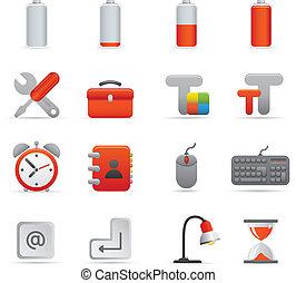 ícones computador, jogo, |, vermelho, série, 01