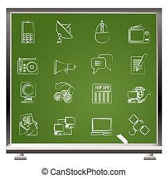 ícones, comunicação, tecnologia
