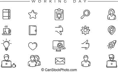 ícones conceito, dia, linha, vetorial, jogo, trabalhando,...
