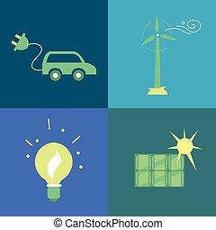 ícones conceito, eco, set., energia, verde