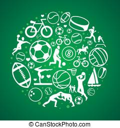 ícones conceito, vetorial, sinais, desporto, redondo