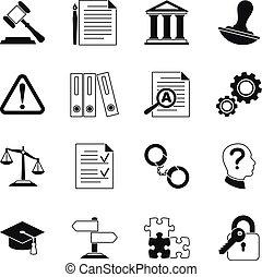 ícones, conformidade, legal, vetorial, lei, consultar
