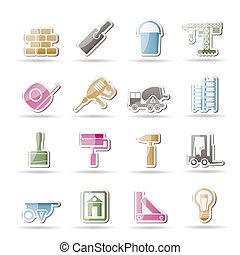 ícones, construção, predios