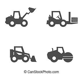 ícones, construção, silhouette., equipment., jogo, enchido