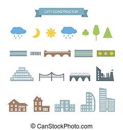 ícones, construtor, set., cidade