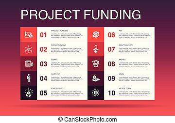 ícones, contribuição, concessão, financiando, crowdfunding, ...
