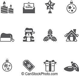ícones, cor, -, único, natal, mais