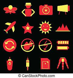 ícones, cor, câmera, experiência preta, tiroteio