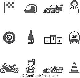 ícones, cor, correndo, -, único